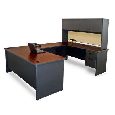 8 ft. 6 in. W x 6 ft. D Dark Neutral and Beryl U-Shaped Desk with Flipper Do or Unit