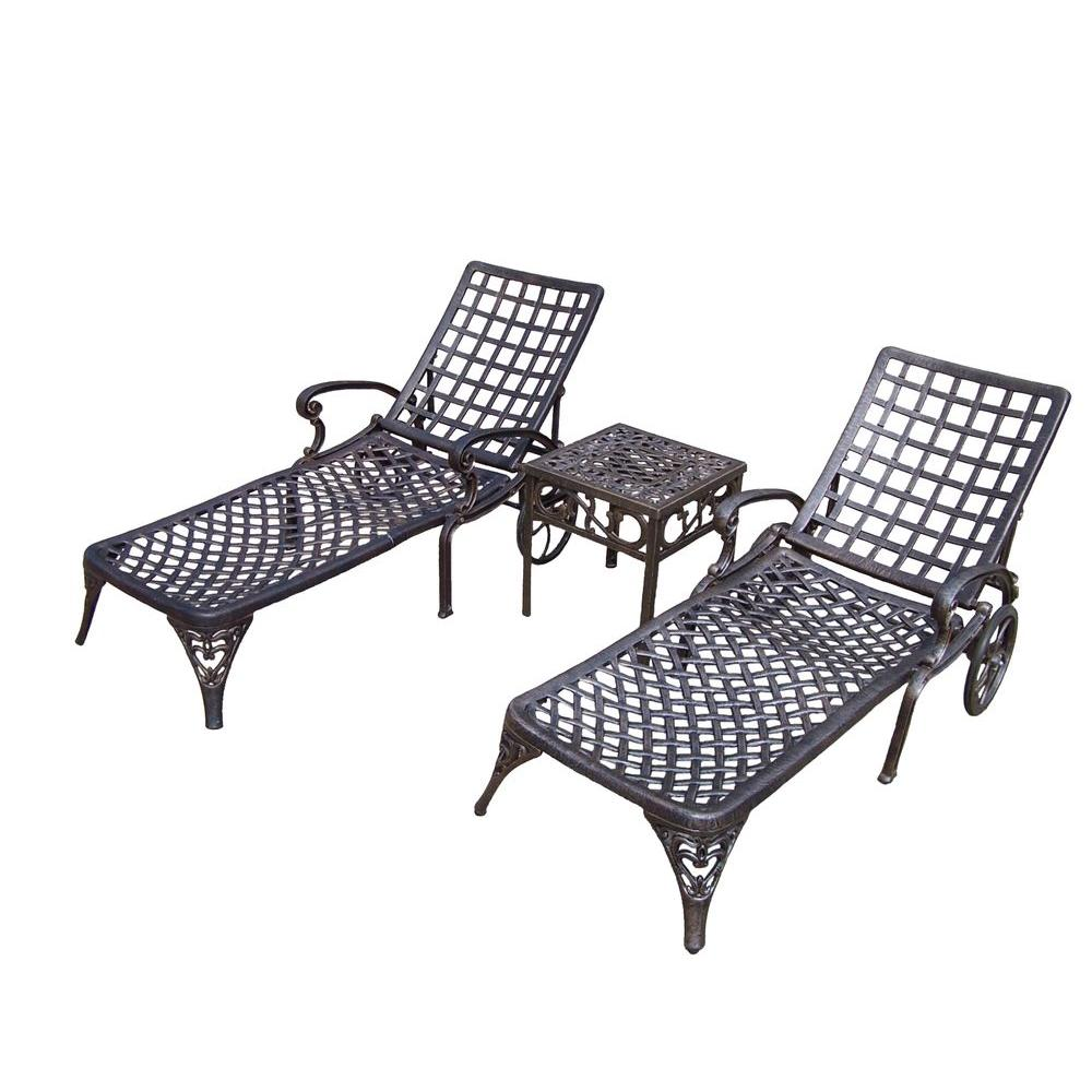 Oakland living elite cast aluminum 3 piece patio chaise for Chaise aluminium