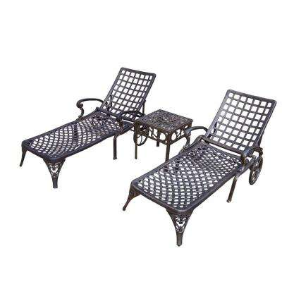 Elite Cast Aluminum 3-Piece Patio Chaise Lounge Set