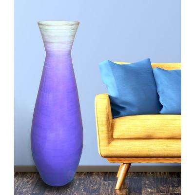 28 in. Purples and Lavenders Tall Bamboo Floor Decorative Vase