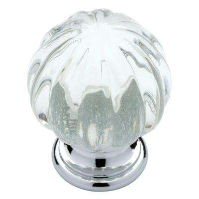 Ridge 1-1/4 in. (32mm) Chrome with Clear Acrylic Ball Cabinet Knob