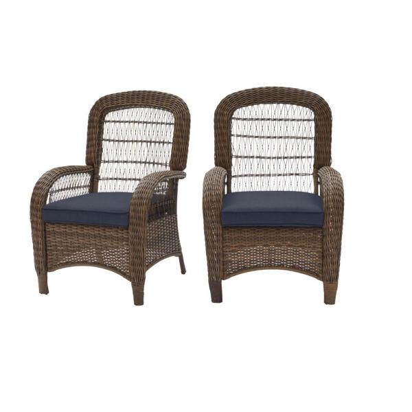 Beacon Park Brown Wicker Outdoor Patio Captain Dining Chair with CushionGuard Sky Blue Cushions (2-Pack)