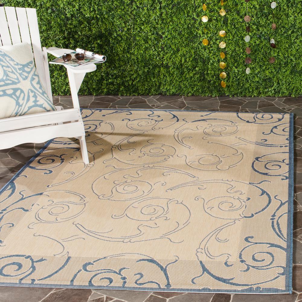 Safavieh Courtyard Natural/Blue 4 ft. x 5 ft. 7 in. Indoor/Outdoor Area Rug