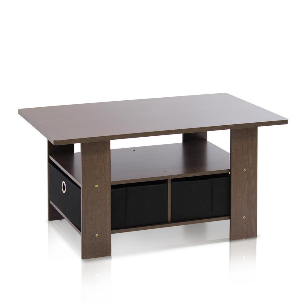 Furinno Home Living Dark Brown And Black Built In Storage Coffee Table