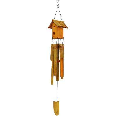 34 in. Bamboo Wind Chime with Bird House