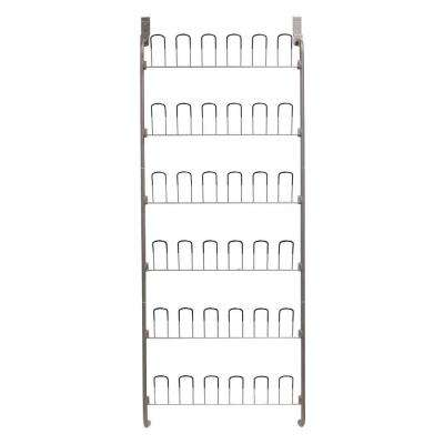 18-Pair Overdoor Wire Storage Shoe Rack in Silver