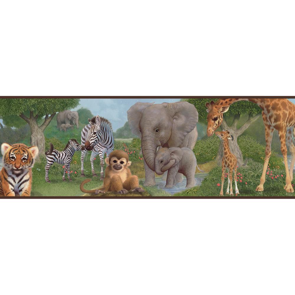 Chesapeake Afrique Jungle Bedtime Portrait Wallpaper Border TOT46371B