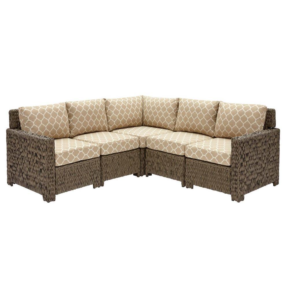 Laguna Point 5-Piece Brown Wicker Outdoor Patio Sectional Sofa Set with CushionGuard Toffee Trellis Tan Cushions
