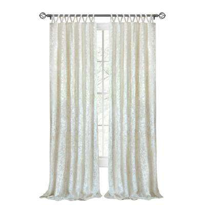 Harper 50 in. W x 63 in. L Criss Cross Tab Top Curtain Panel in Creamy White