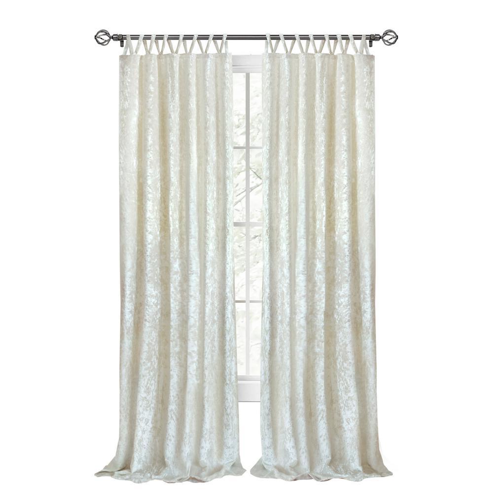 Harper 50 in. W x 63 in. L Criss Cross Tab Top Curtain Panel in Creamy White