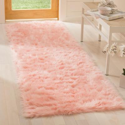 Faux Sheep Skin Pink 2 ft. 6 in. x 6 ft. Runner