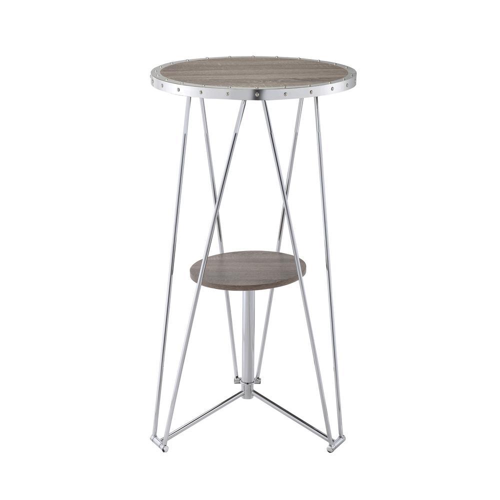 Acme Furniture Jarvis Gray Oak And Chrome Storage Pub/Bar Table