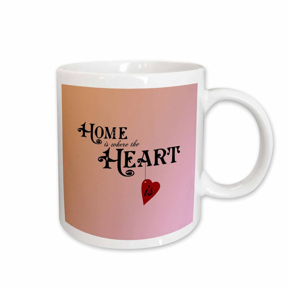 45578f2b Ps Vintage Vintage Home is Where the Heart is 11 oz. White Ceramic Coffee  Mug