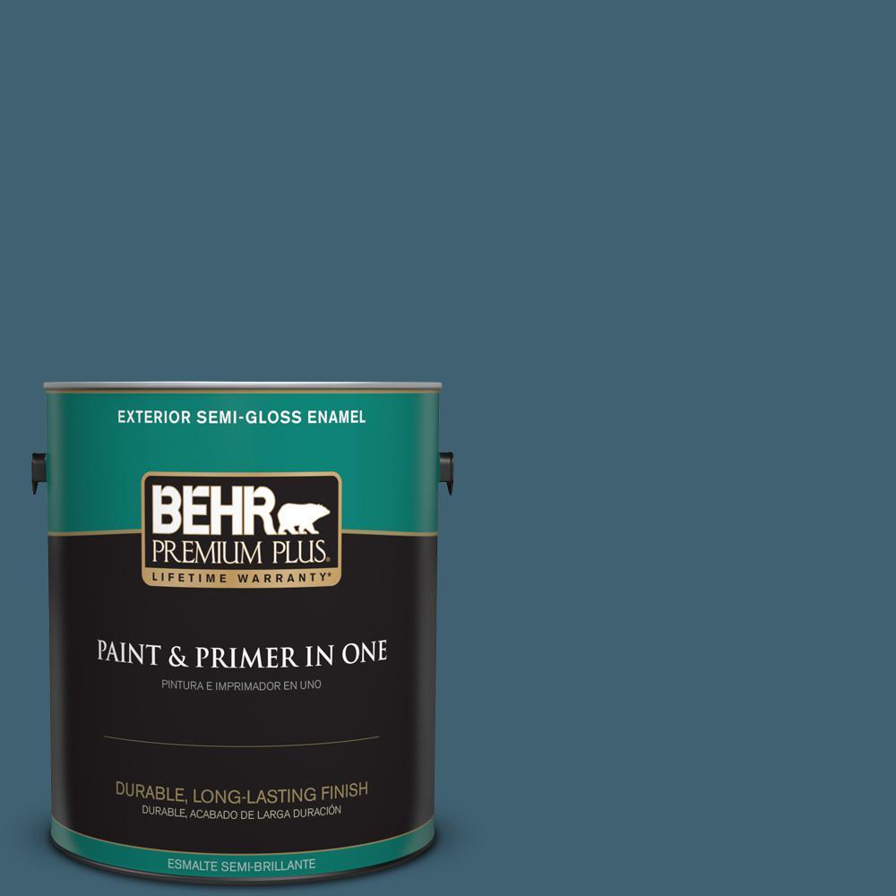 1 gal. #PPU13-18 Bermudan Blue Semi-Gloss Enamel Exterior Paint