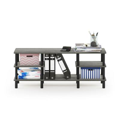 18.54 in. French Oak Gray/Black Plastic 4-shelf Etagere Bookcase with Open Back
