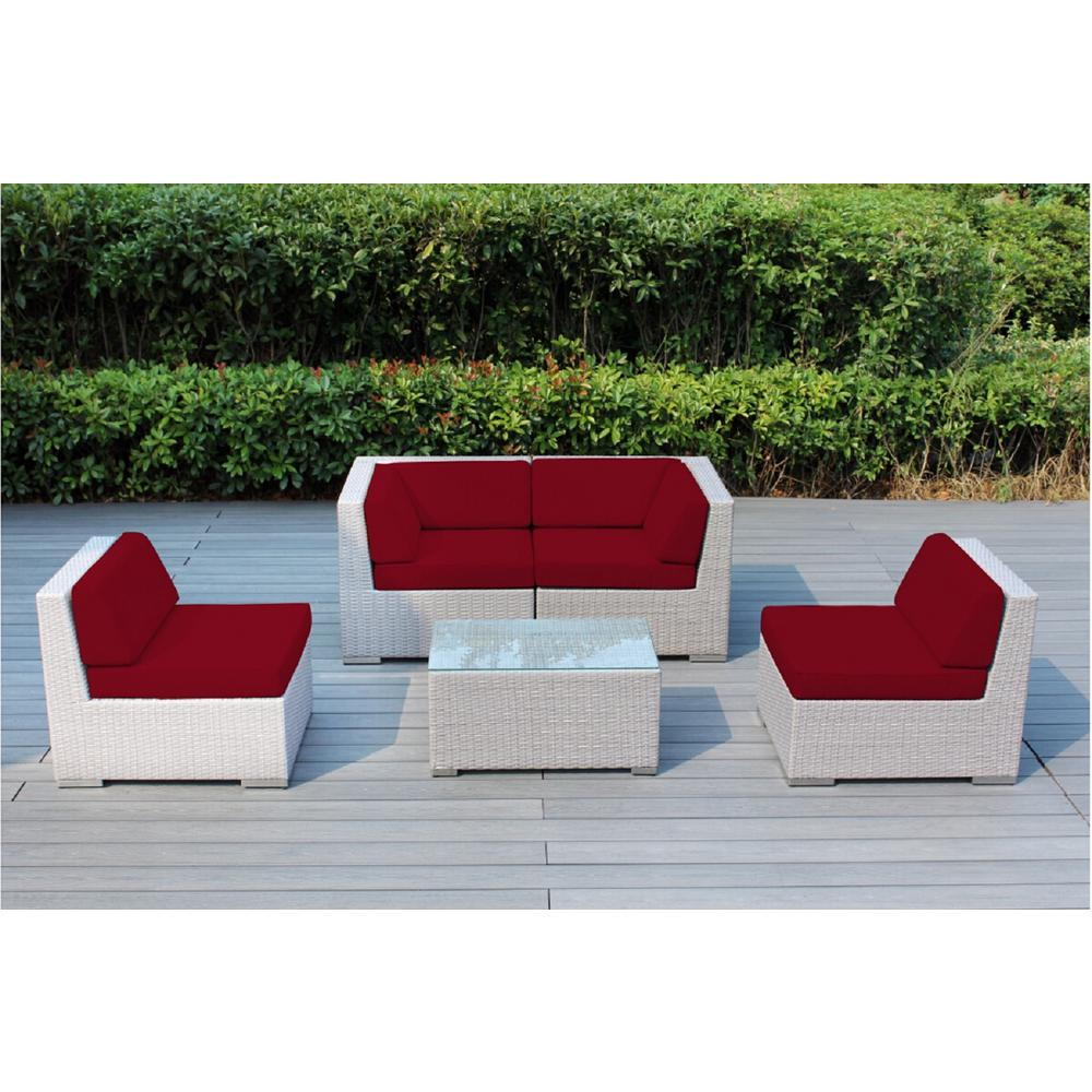 Gray 5-Piece Wicker Patio Seating Set with Sunbrella Jockey Red Cushions