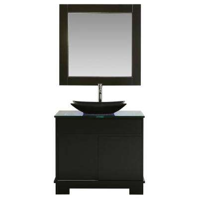 Oasis 36 in. W x 22 in. D Single Vanity in Espresso with Glass Vanity Top in Clear with black basin and Mirror