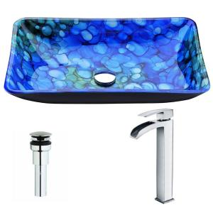 ANZZI Voce Series Deco-Glass Vessel Sink in Lustrous Blue with Key Faucet in Polished Chrome by ANZZI