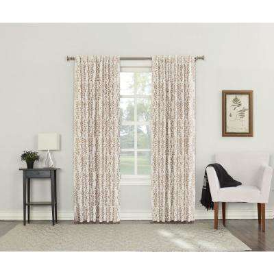 Rochelle Linen Lined Back Tab Blackout Curtain - 52 in. W x 95 in. L