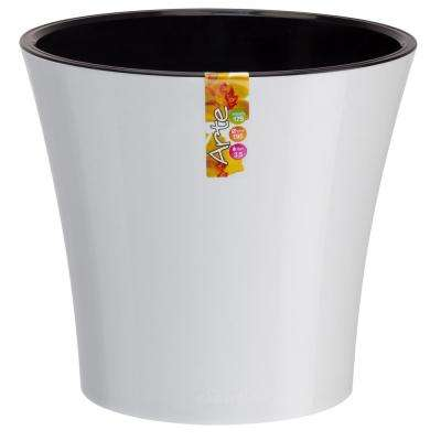 Arte 8.6 in. White/Black Plastic Self Watering Planter