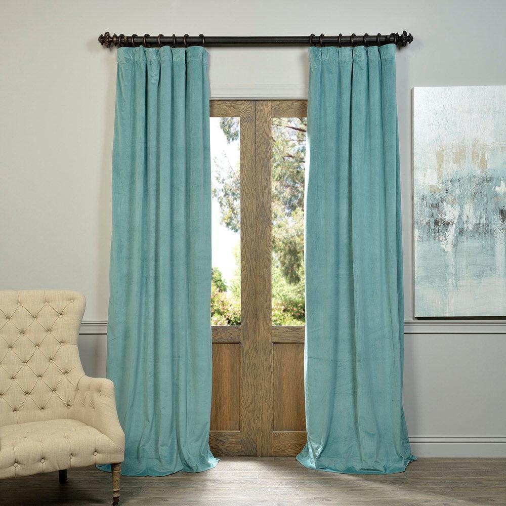 Blackout Signature Aqua Mist Blue Blackout Velvet Curtain - 50 in. W x 96 in. L (1 Panel)