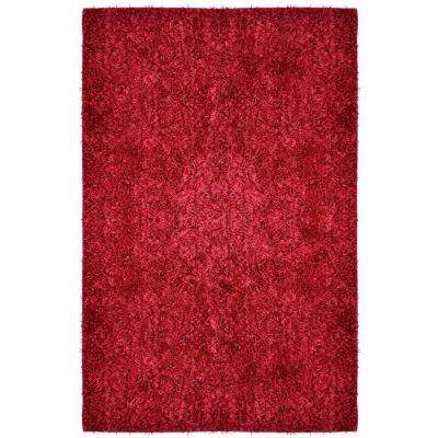 City Sheen Red Polyester 5 ft. x 8 ft. Area Rug