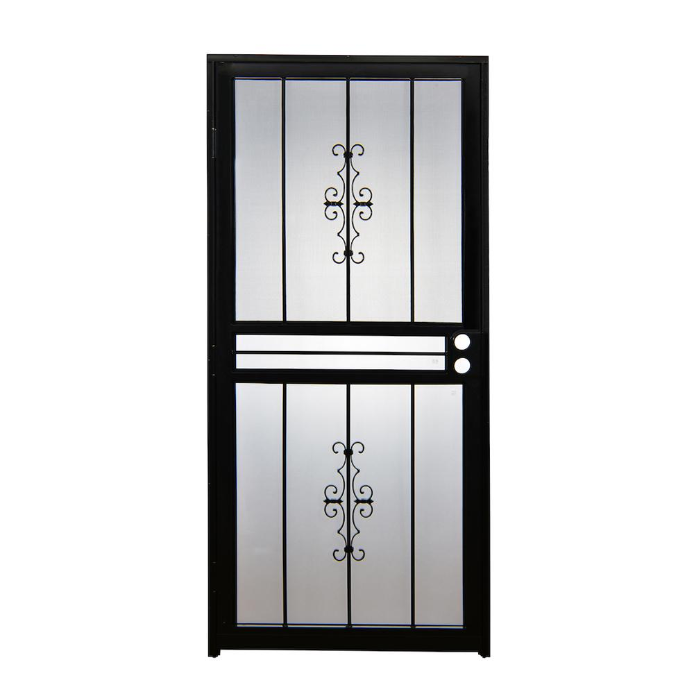 28 in. x 80 in. 501 Series Genesis Steel Black Prehung Security Door