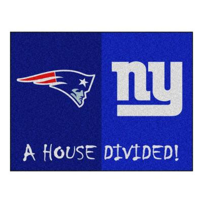 NFL Patriots / Giants Navy House Divided 3 ft. x 4 ft. Area Rug
