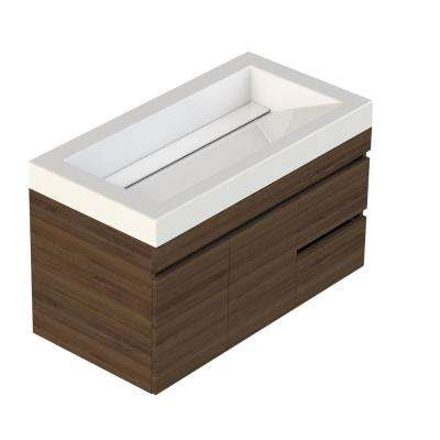 Viteli + Genova 37 in. W x 19 in. D Vanity in Walnut with Cultured Marble Vanity Top in White with White Basin