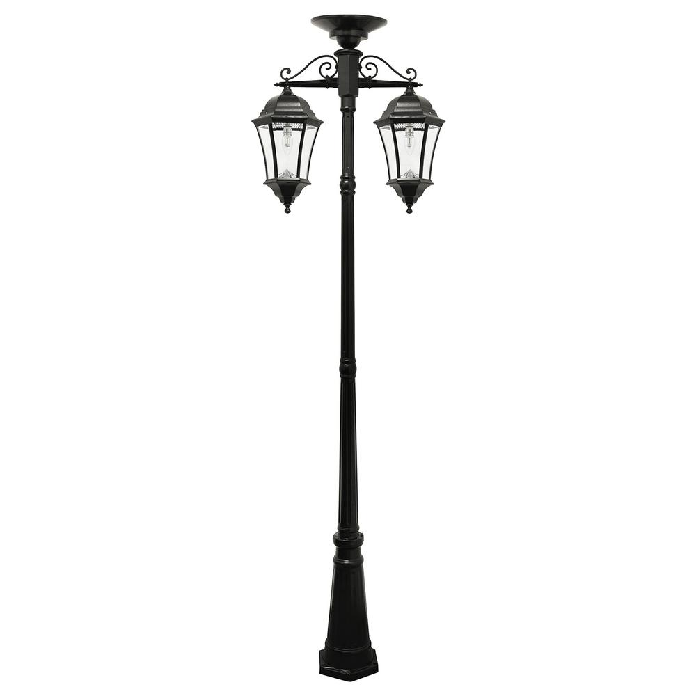 Gama Sonic Victorian Bulb Series 2 Light Black Led Outdoor Solar Lamp Post With Downward Hanging Fixtures