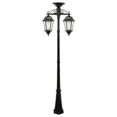 Victorian Bulb Series 2-Light Black LED Outdoor Solar Lamp Post with 2 Downward Hanging Lamp Fixtures