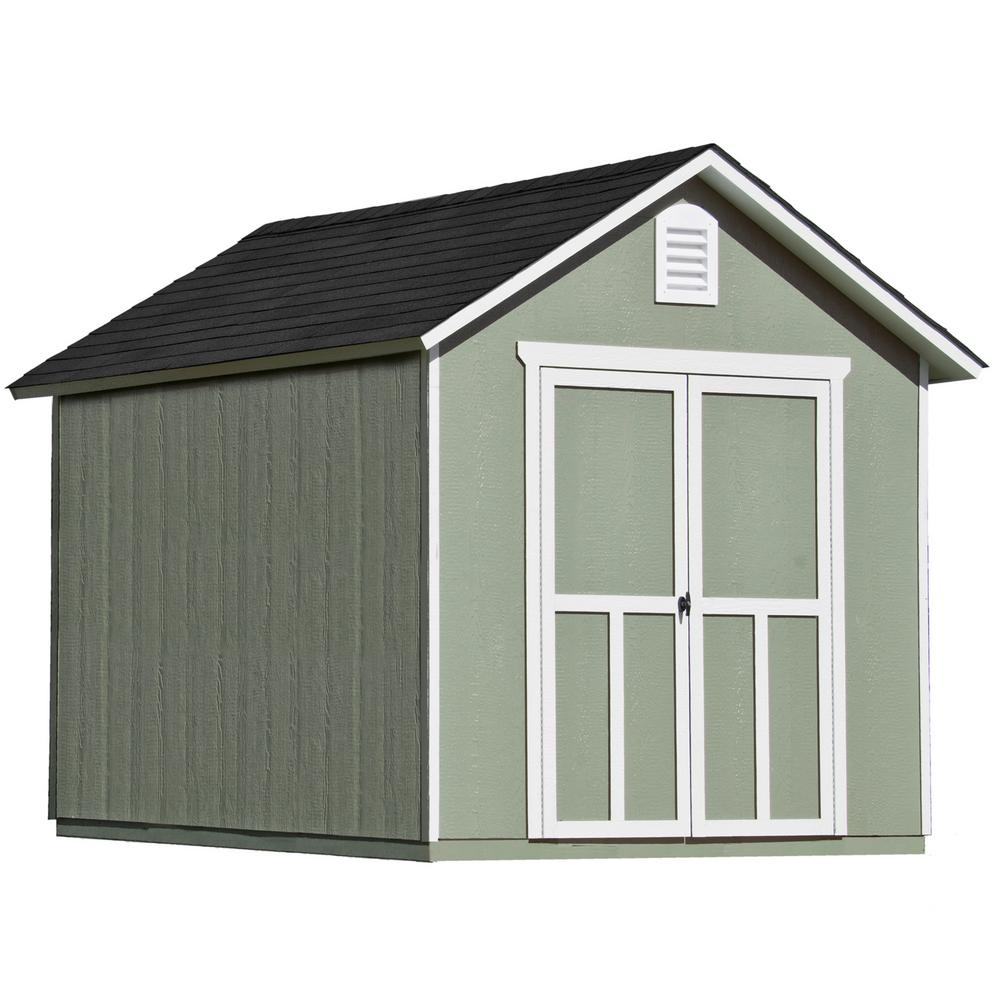 Handy Home Products Meridian 8 ft. x 10 ft. Wood Storage Shed with Floor