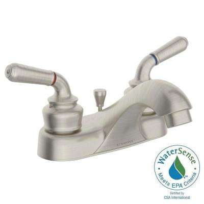 Origins 4 in. Centerset 2-Handle Bathroom Faucet with Drain Assembly in Brushed Nickel