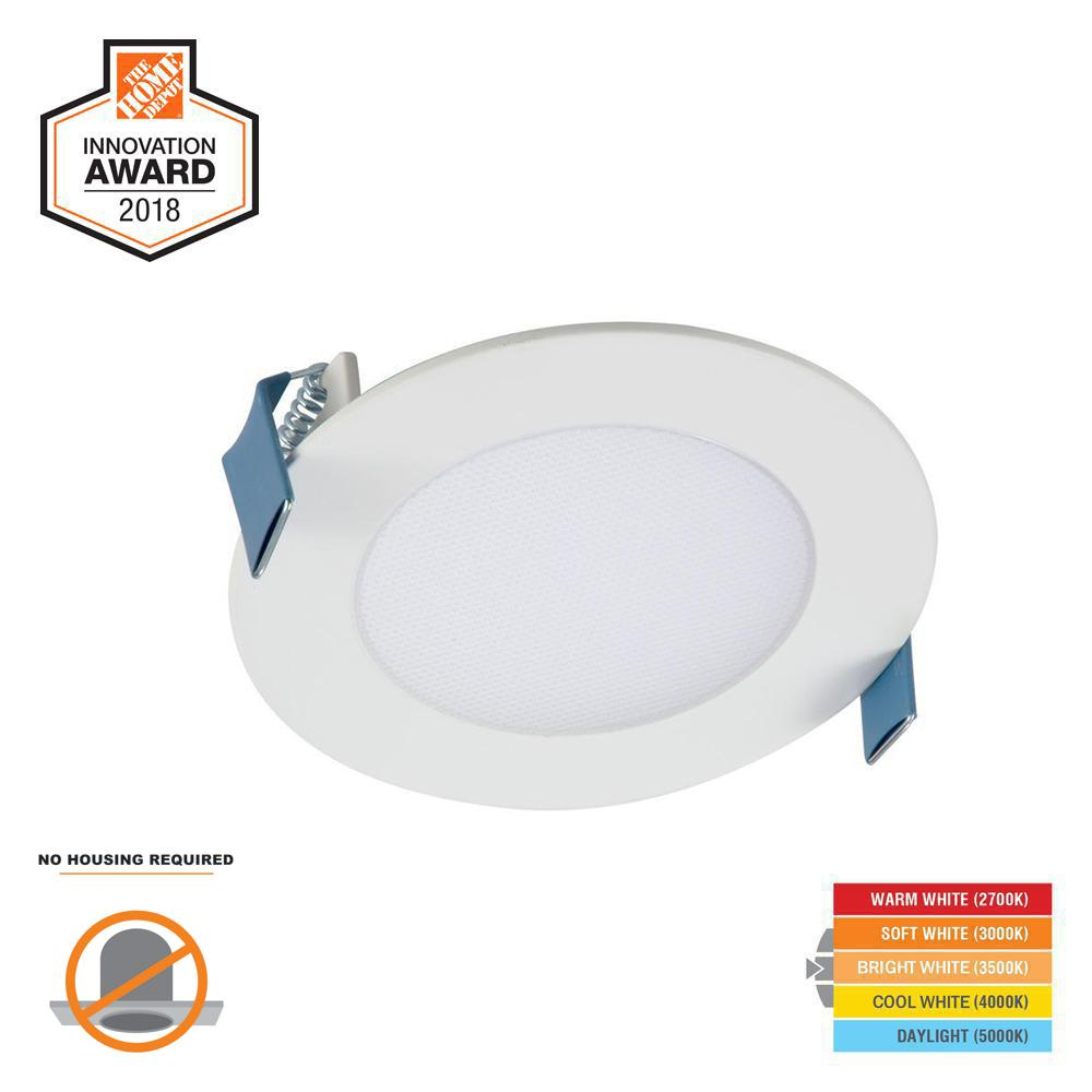 Halo Hlb 4 In White Round Integrated Led Recessed Light Direct Lights Without Wiring Mount Kit With Selectable