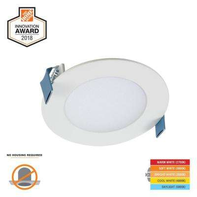HLB 4 in. White Round Integrated LED Recessed Light Direct Mount Kit with Selectable CCT (2700K-5000K), (No Can Needed)