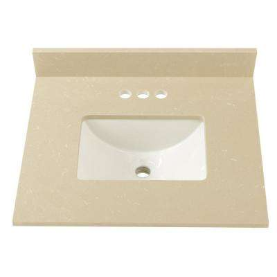 25 in. W x 22 in. D Engineered Marble Vanity Top in Crema Limestone  with White Trough Basin