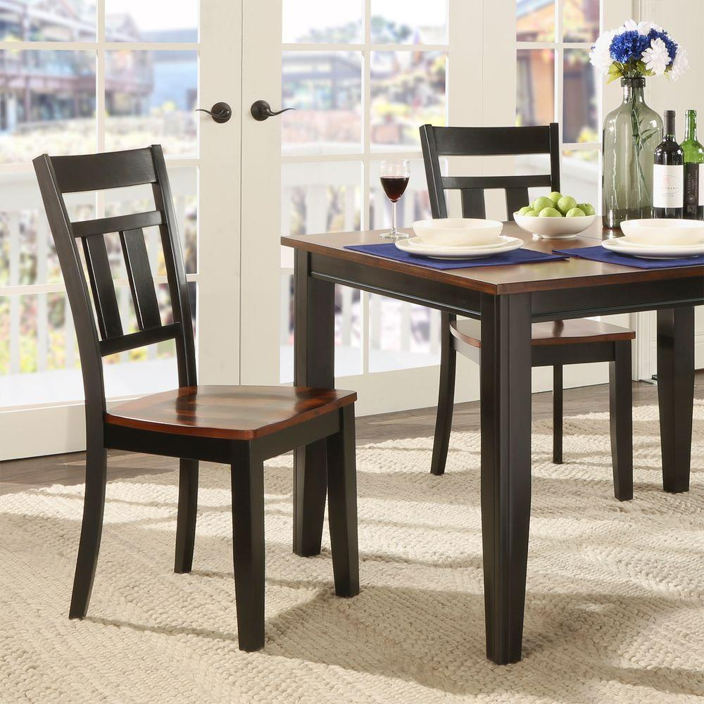 Dark Wood Dining Set: HomeSullivan Cherry Hill Rich Cherry And Black Wood Dining Chair (Set Of 2)-5079BKS[2PC]