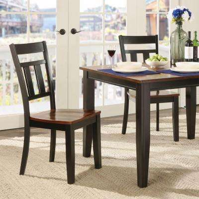 Cherry Hill Rich Cherry and Black Wood Dining Chair (Set of 2)