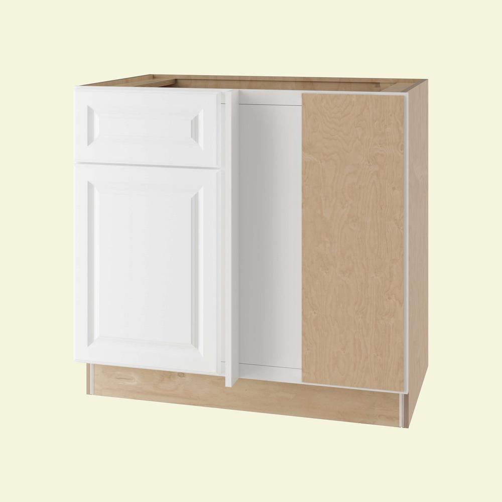 Home Decorators Collection Assembled 42x34.5x24 in. Hallmark Base Blind  Corner Right Cabinet with Door and Drawer in Arctic White