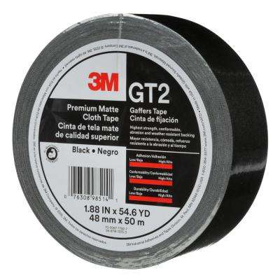 1.88 in. x 54.6 yds. Black Premium Matte Cloth Gaffers Tape