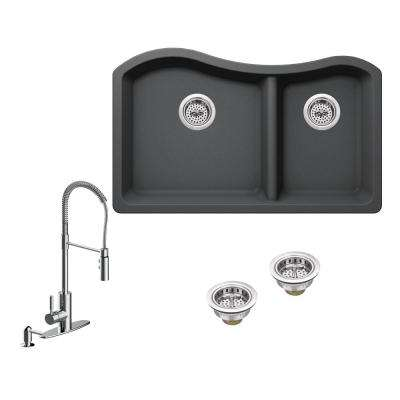 All-in-One Undermount Granite Composite 32-1/2 in. 60/40 Double Bowl Kitchen Sink in Grey with Faucet in Polished Chrome