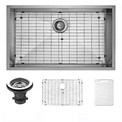 Ludlow Undermount Stainless Steel 30 in. Single Bowl Kitchen Bar Sink with 1 Grid, 1 Strainer in Stainless Steel