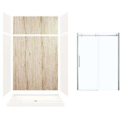 Expressions 32 in. x 60 in. x 96 in. Center Drain Alcove Shower Kit with Extension Door in White/Sorento and Chrome