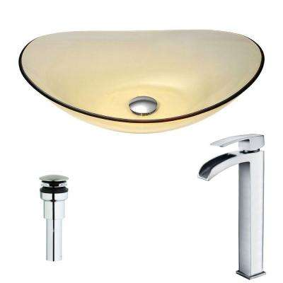 Mesto Series Deco-Glass Vessel Sink in Lustrous Translucent Gold with Key Faucet in Polished Chrome