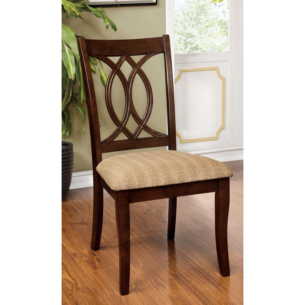 57462abb4a02 Carlisle Brown Cherry Transitional Style Side Chair CM3778SC-2PK ...