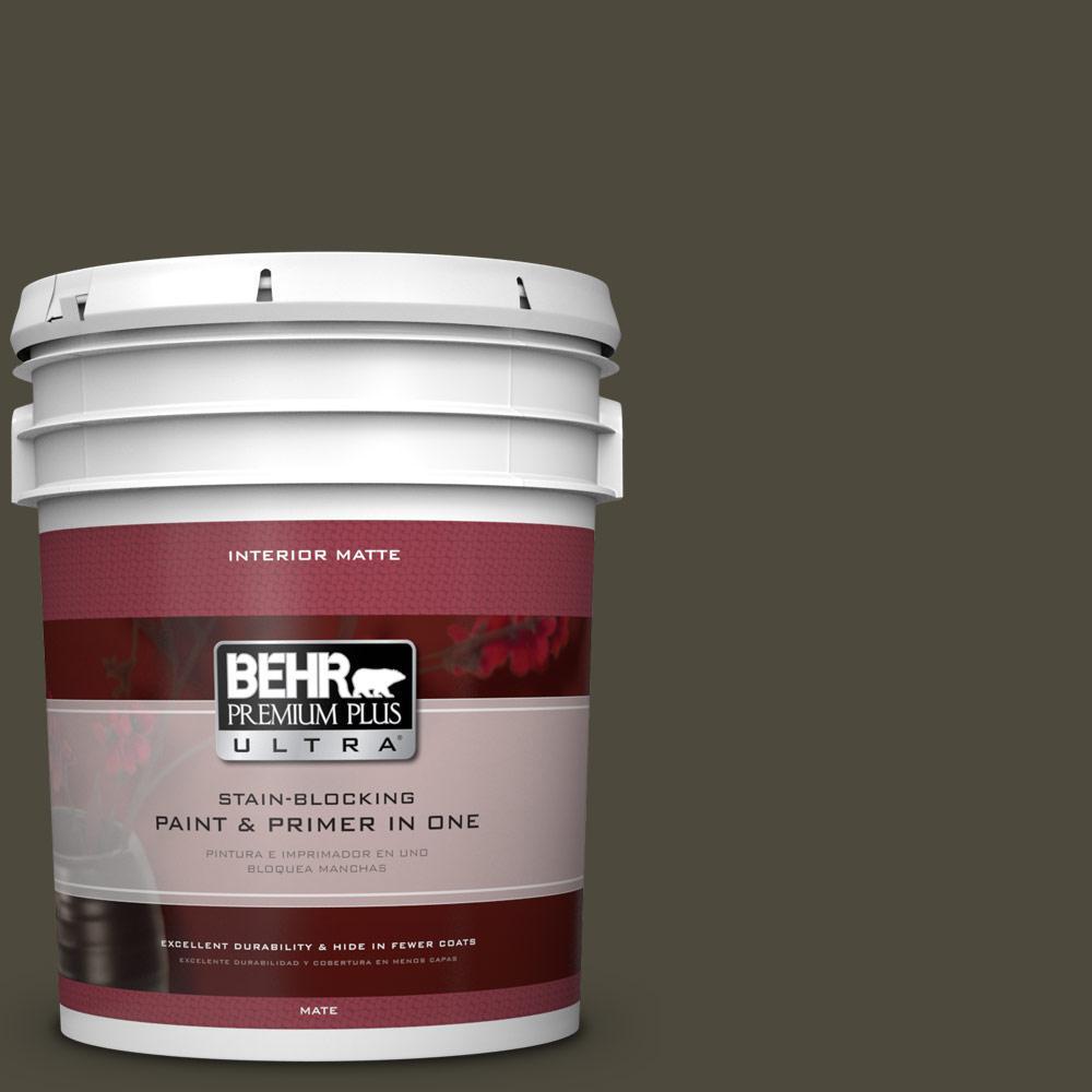 BEHR Premium Plus Ultra 5 gal. #S-H-760 Olive Leaf Flat/Matte Interior Paint