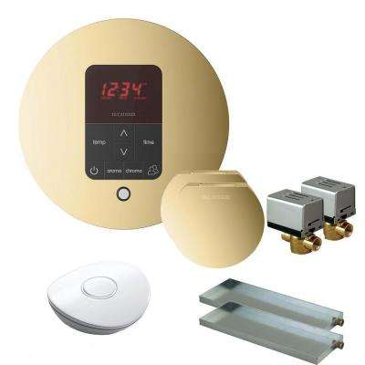MS Butler 2 Package with iTempo Pro Round Programmable Control for Steam Bath Generator in Polished Brass