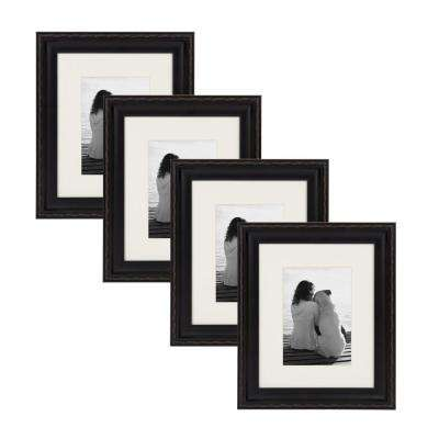 Martinez 8 in. x 10 in. Matted to 5 in. x 7 in. Black Picture Frame (Set of 4)