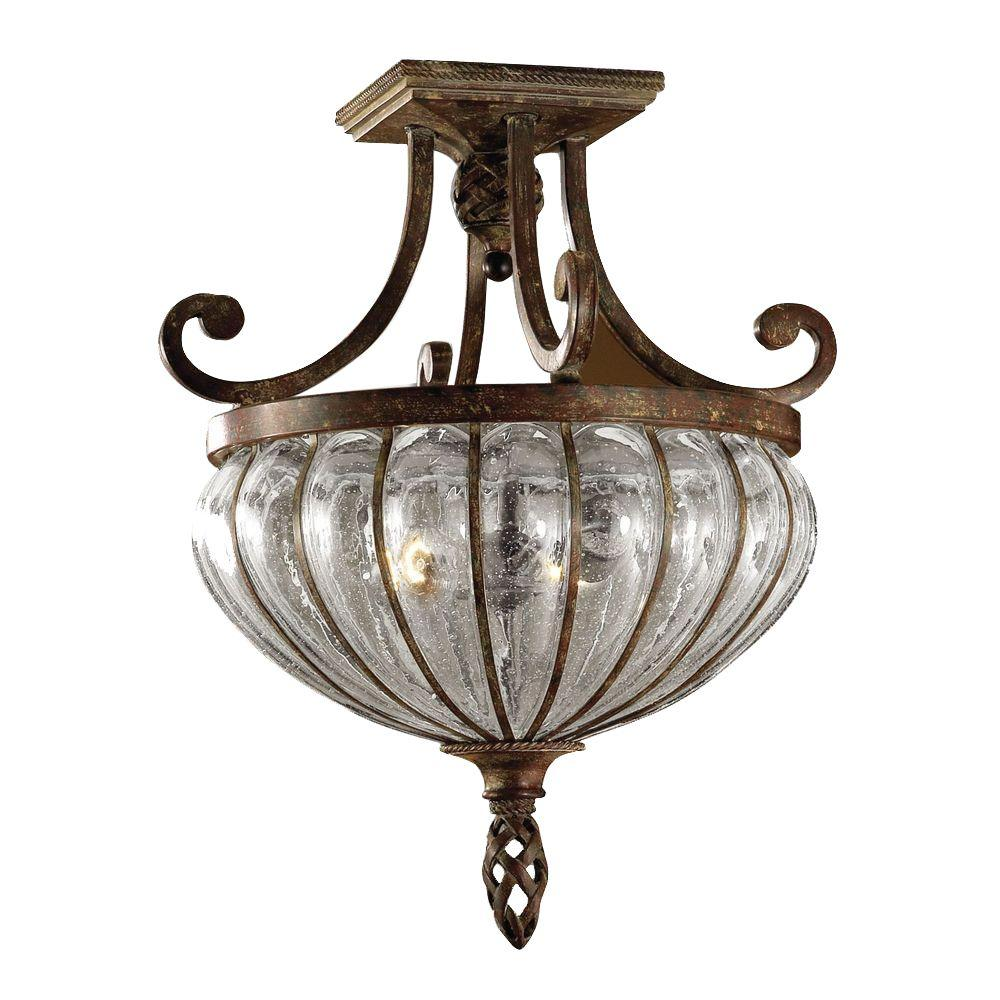 Home Decorators Collection 2-Light Saddle Brown Seeded Glass Semi-Flush Mount Light