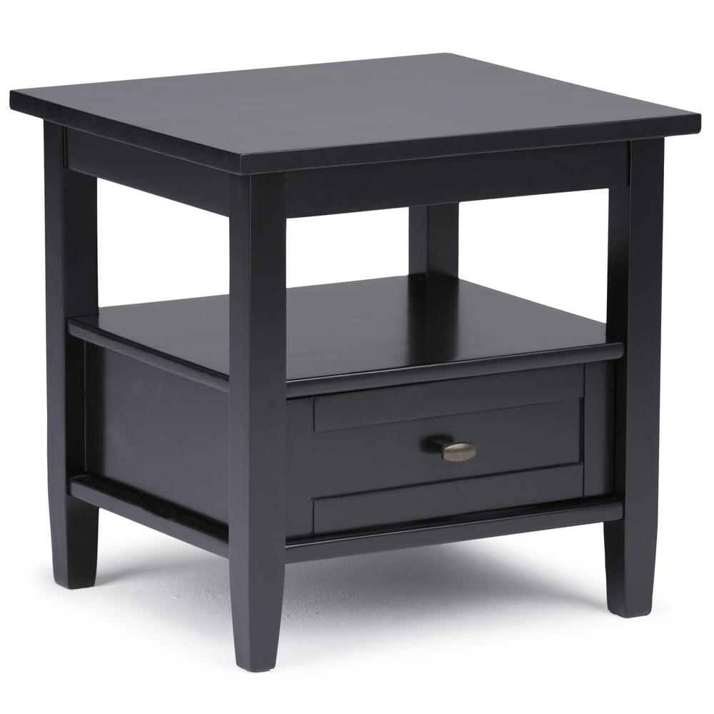 Simpli Home Warm Shaker Black Satin Storage End Table